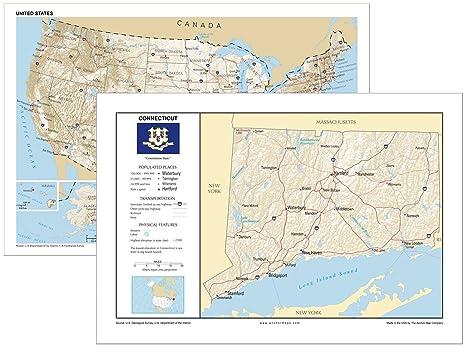 Amazon.com : 13x19 Connecticut and 13x19 United States ...