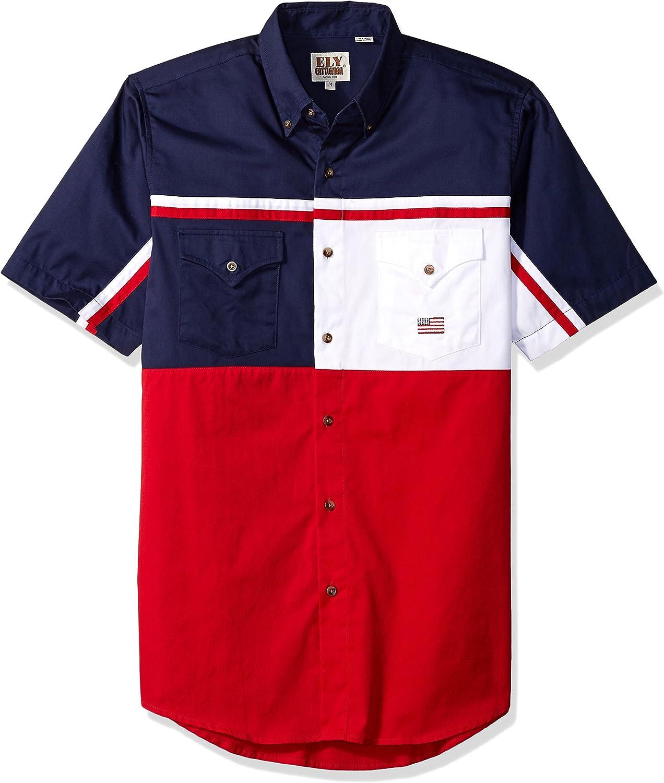 ELY CATTLEMAN Men's Short Sleeve Patriotic Colorblock