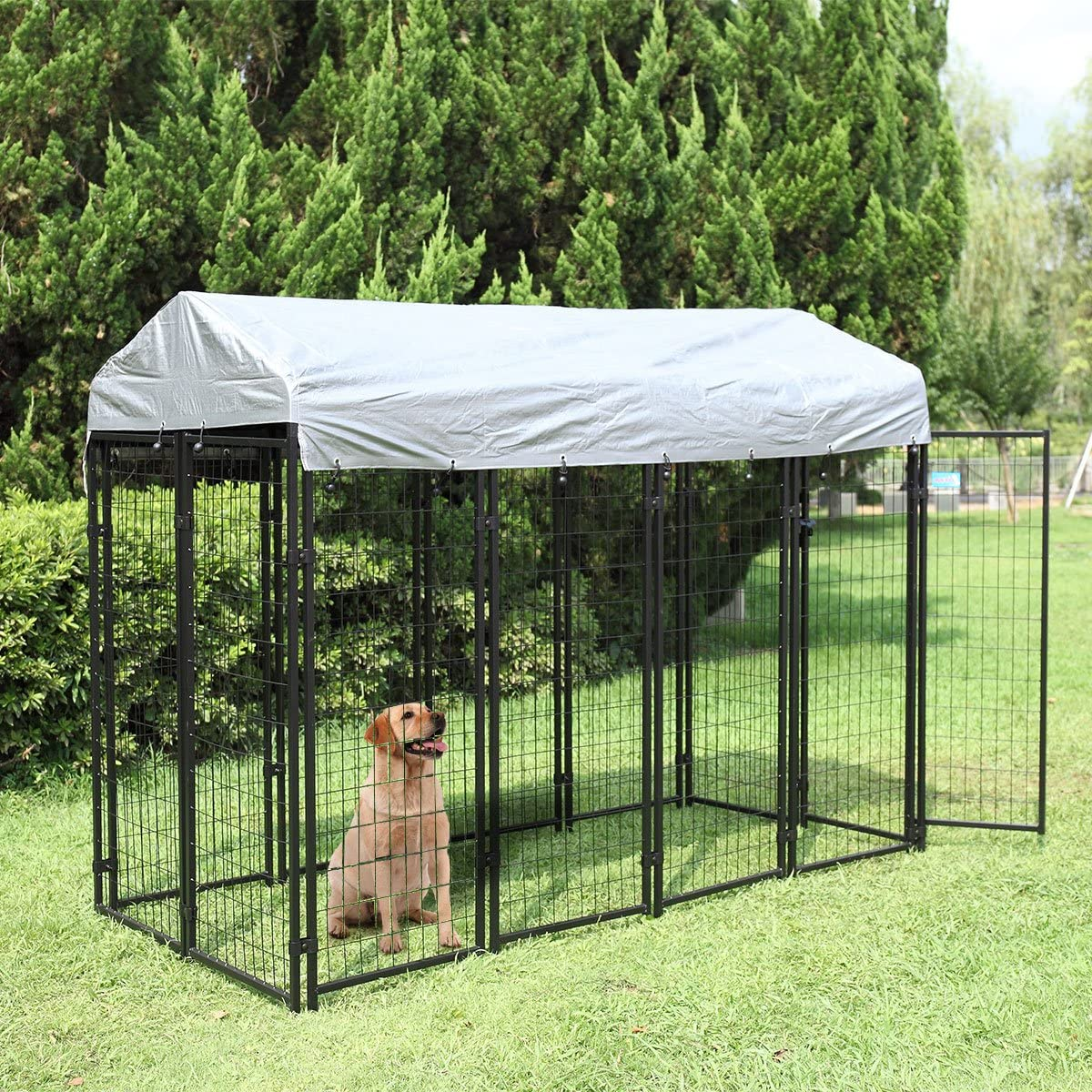 JAXPETY Large Dog Uptown Welded Wire Kennel Outdoor Pen Outside Exercise Crate Pet Wire Cage w Roof