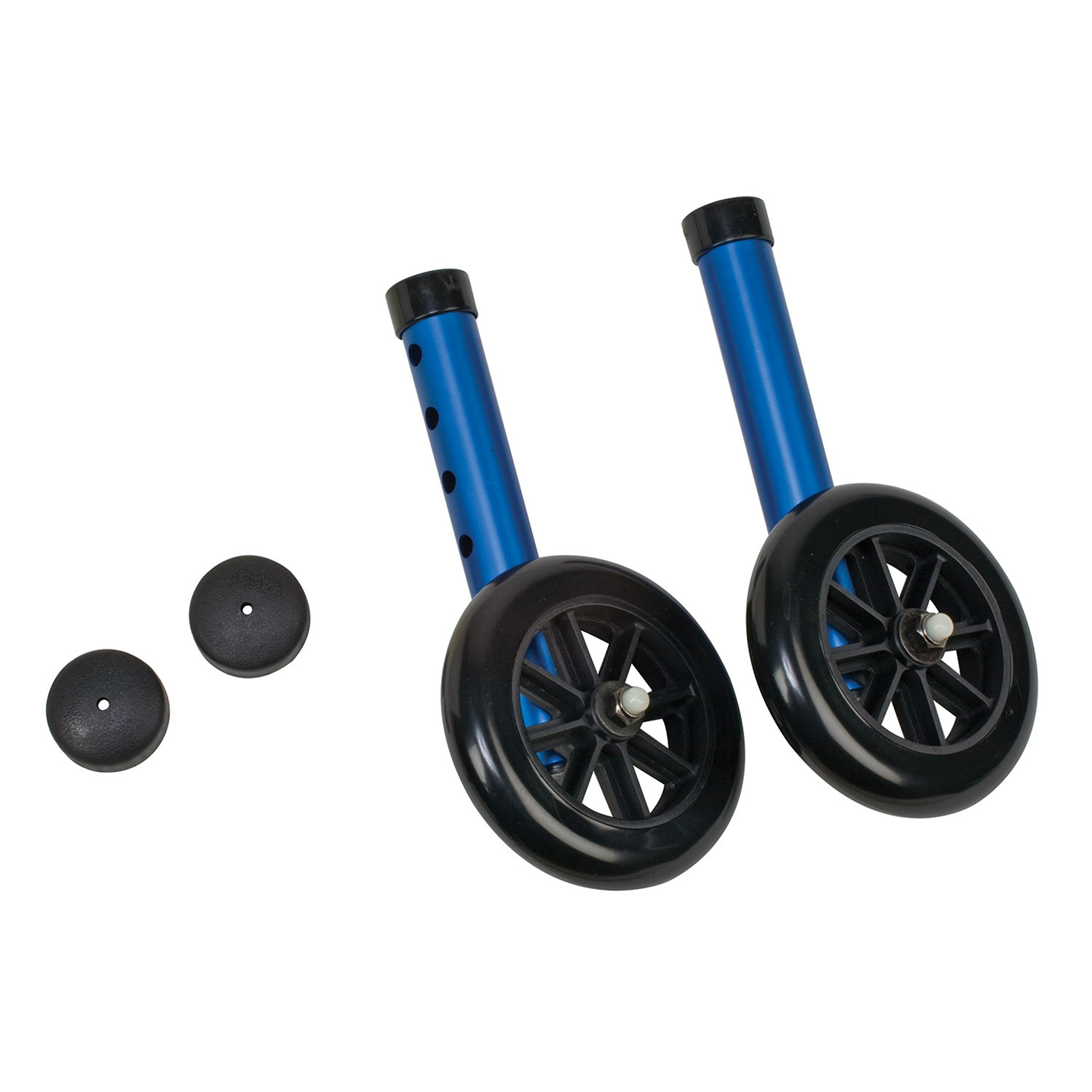 DMI Walker Wheels with Glide Caps, Blue, One Pair