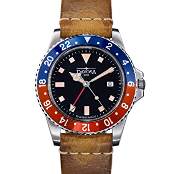 Davosa Professional Men Watch, Quality Swiss Made Quartz 16250095, GMT Dual Time Analog Dial