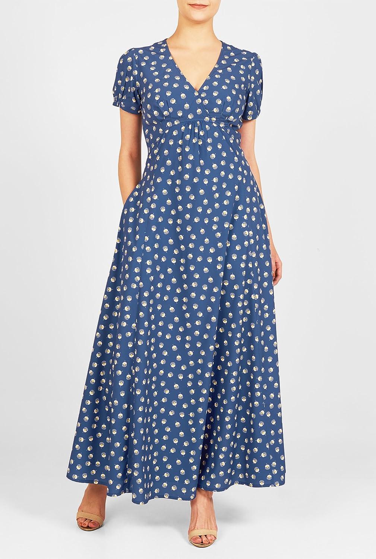 1940s Plus Size Dresses eShakti Womens Dandelion print crepe empire maxi dress  AT vintagedancer.com