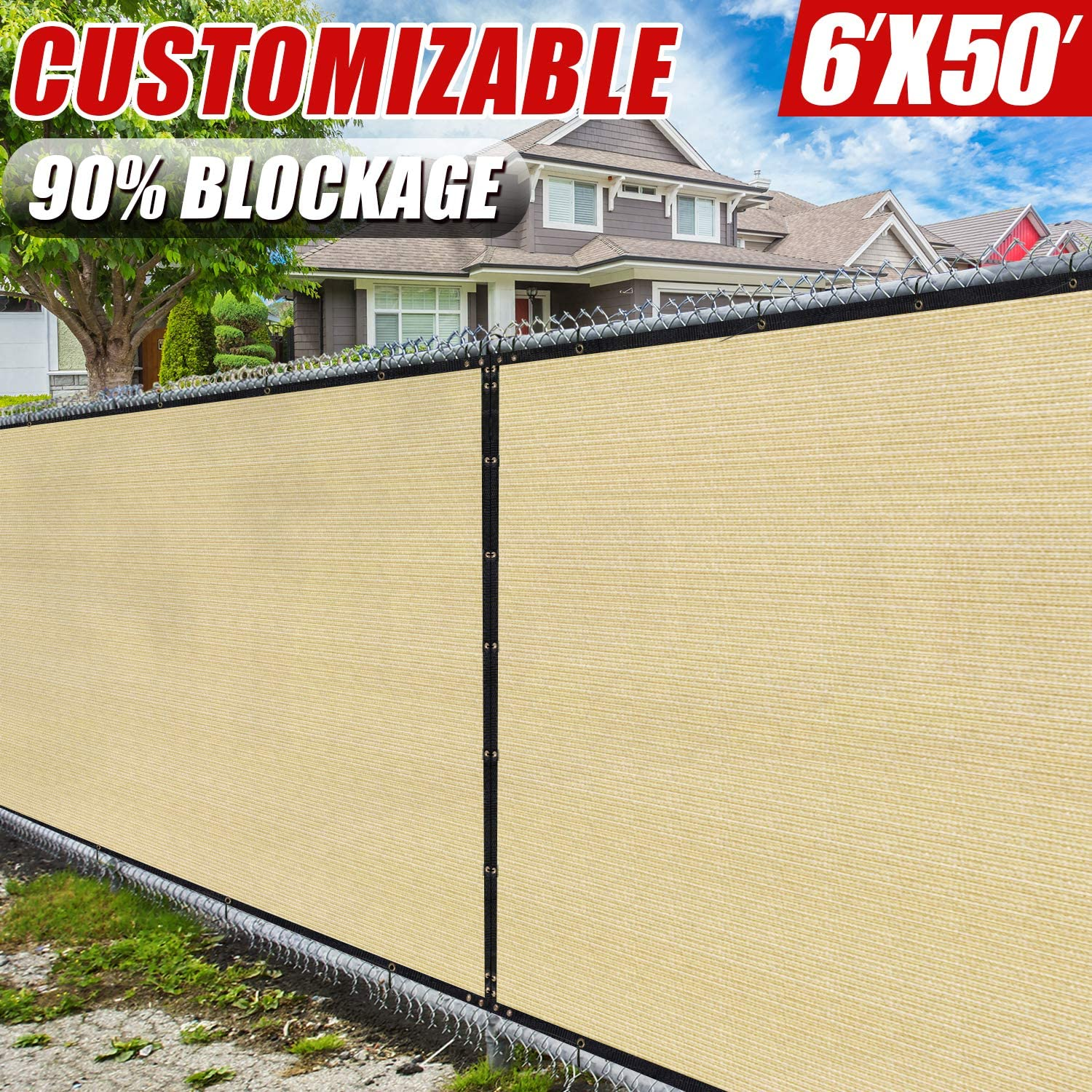 Amgo 6' x 50' Beige Fence Privacy Screen Windscreen,with Bindings & Grommets, Heavy Duty for Commercial and Residential, 90% Blockage, Cable Zip Ties Included, (Available for Custom Sizes)