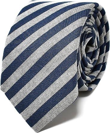 Oxford Collection Corbata de hombre Azul y Gris a Rayas - 100 ...