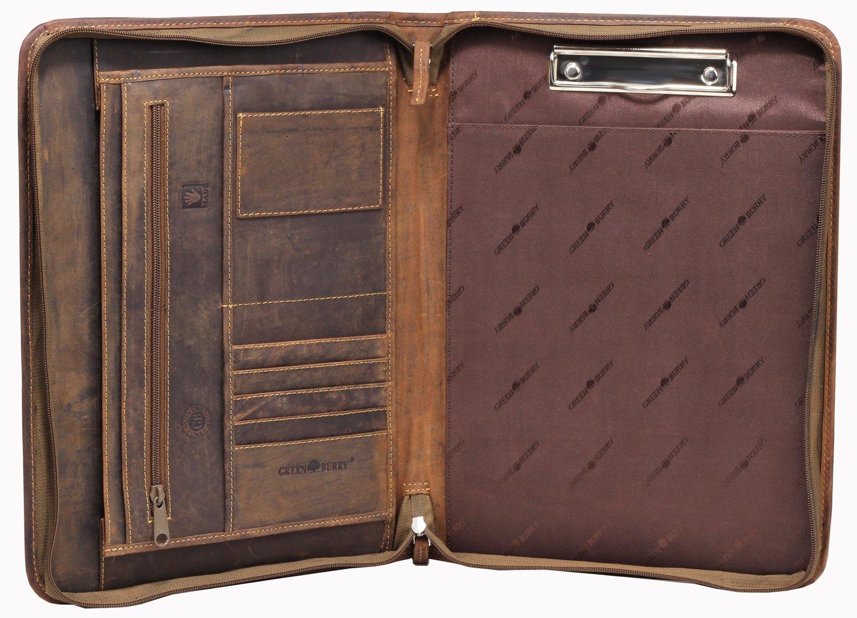 Greenburry Leder-Schreibmappe DIN A4 - Vintage Konferenzmappe mit Reißverschluss – A4 Schreibmappe aus Leder - hochwertige Vertretermappe aus Leder - 36 x 26, 5 x 3 cm