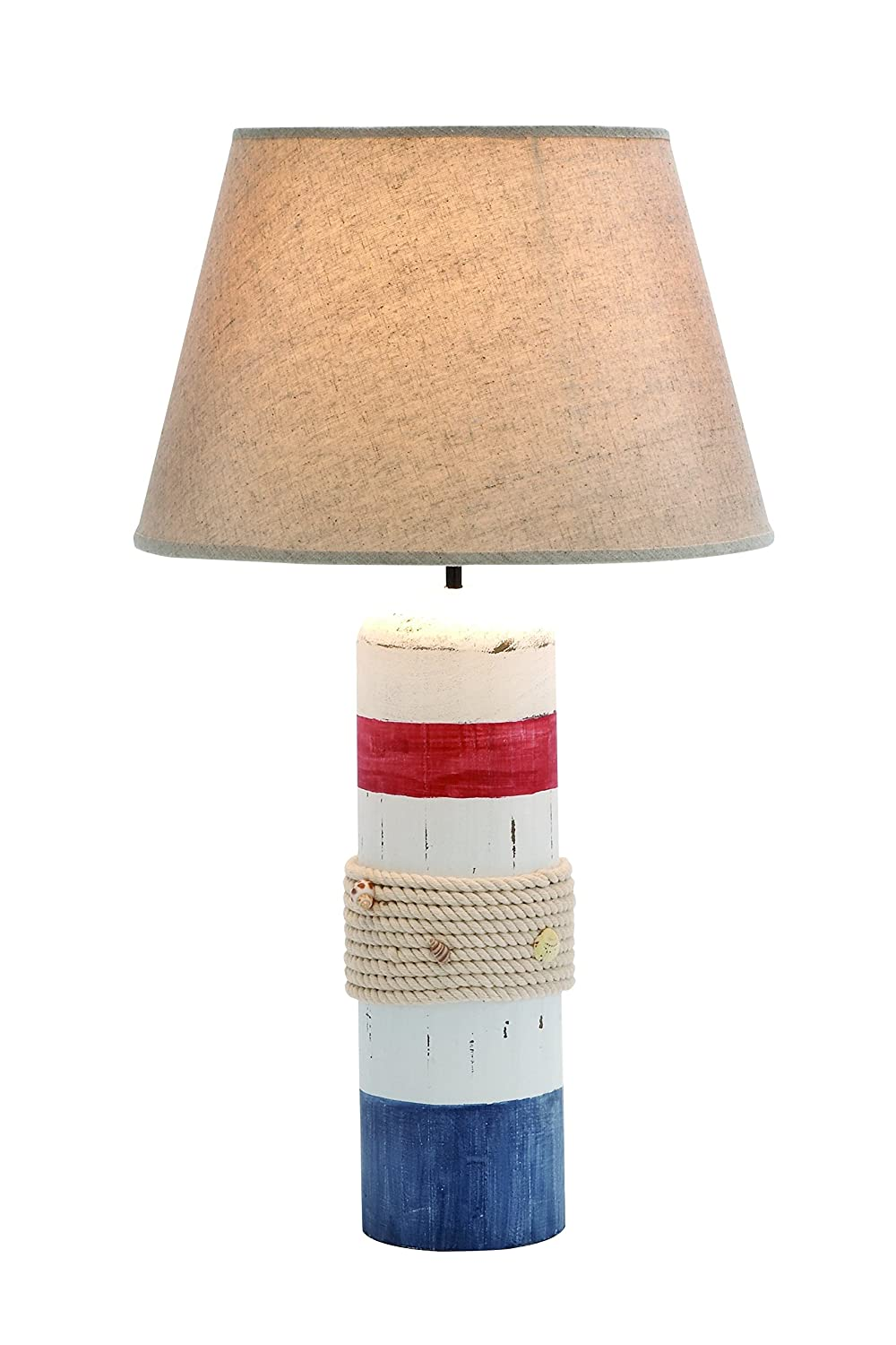 Amazon benzara stylish white wooden buoy table lamp with red amazon benzara stylish white wooden buoy table lamp with red and blue band kitchen dining geotapseo Image collections