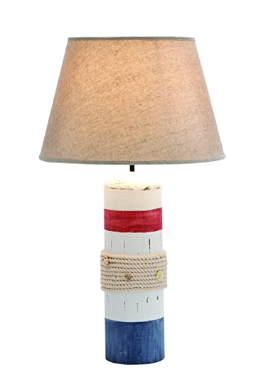 Benzara Stylish White Wooden Buoy Table Lamp With Red And Blue Band