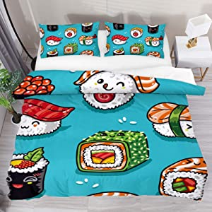 HEOEH Cute Cartoon Rolls and Sushi in Kawaii Japanese Food Duvet Cover Set Queen Size Kids Bedding Sets Comforter Cover with Soft Lightweight Microfiber 1 Duvet Cover and 2 Pillowcase