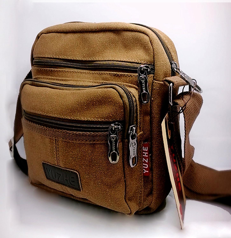 Sac à bandoulière pour hommes, toile, sac à fermeture éclair rétro classique, sac à bandoulière élégant pour transporter votre téléphone portable et iPad mini, etc. (BLUE) horeen