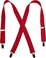 Solid Color Elastic Children's Suspenders by Suspender Factory (Red), 30 inches long, One Size