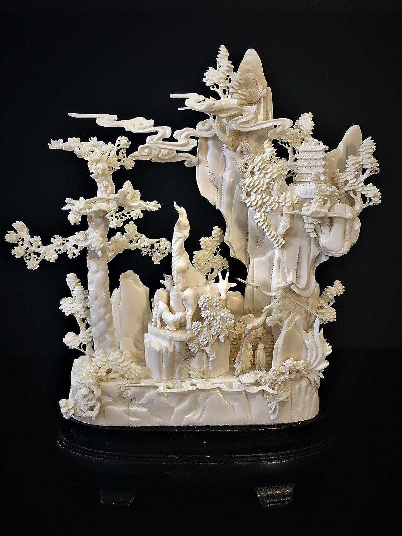 Amazon Com China Fine Craft 12 Bone Carving Goats And Cranes Mountain 0610a2 Wall Art