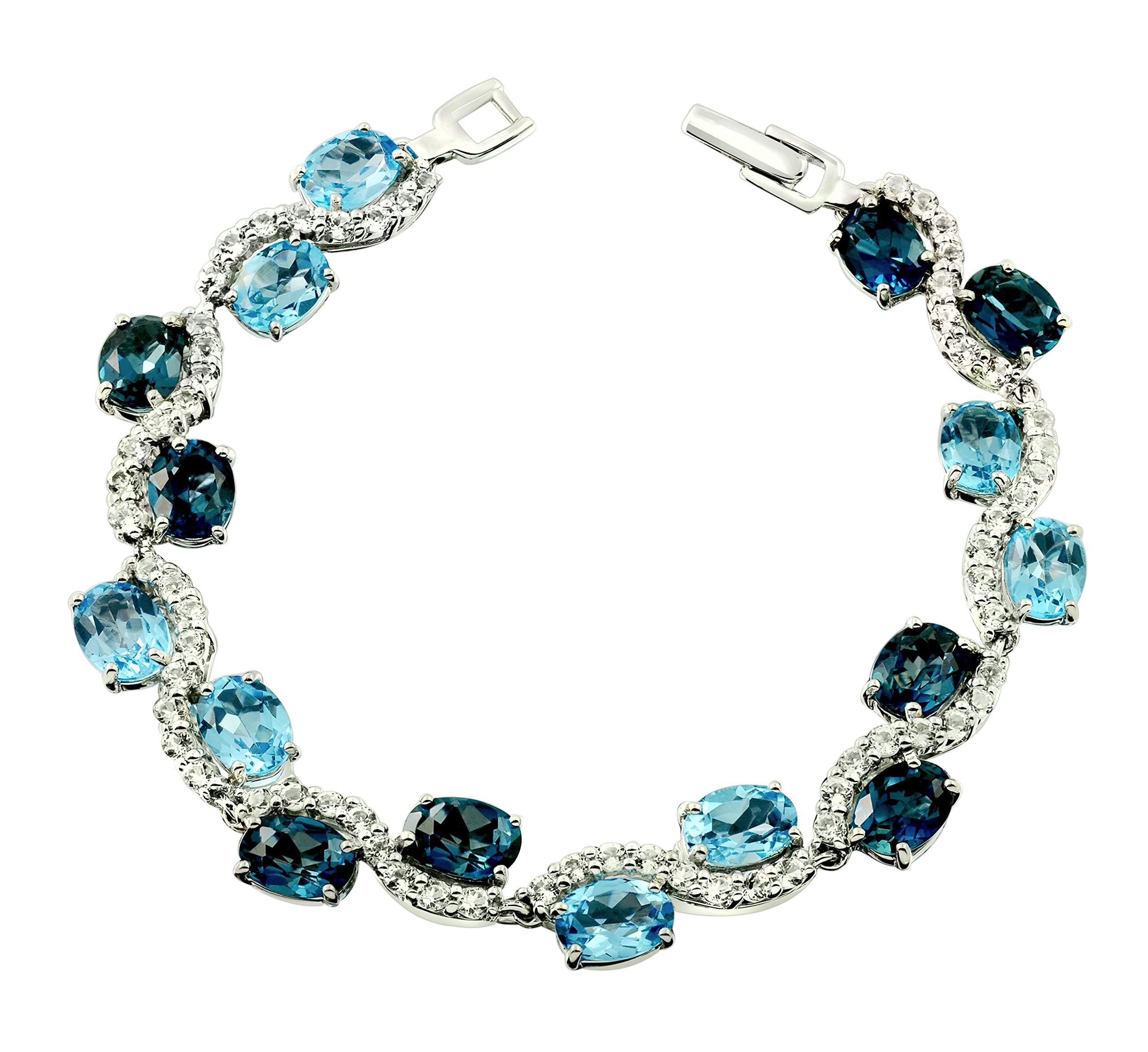 28.32 Carats London Blue Topaz Rhodium-Plated 925 Sterling Silver Statement Bracelet