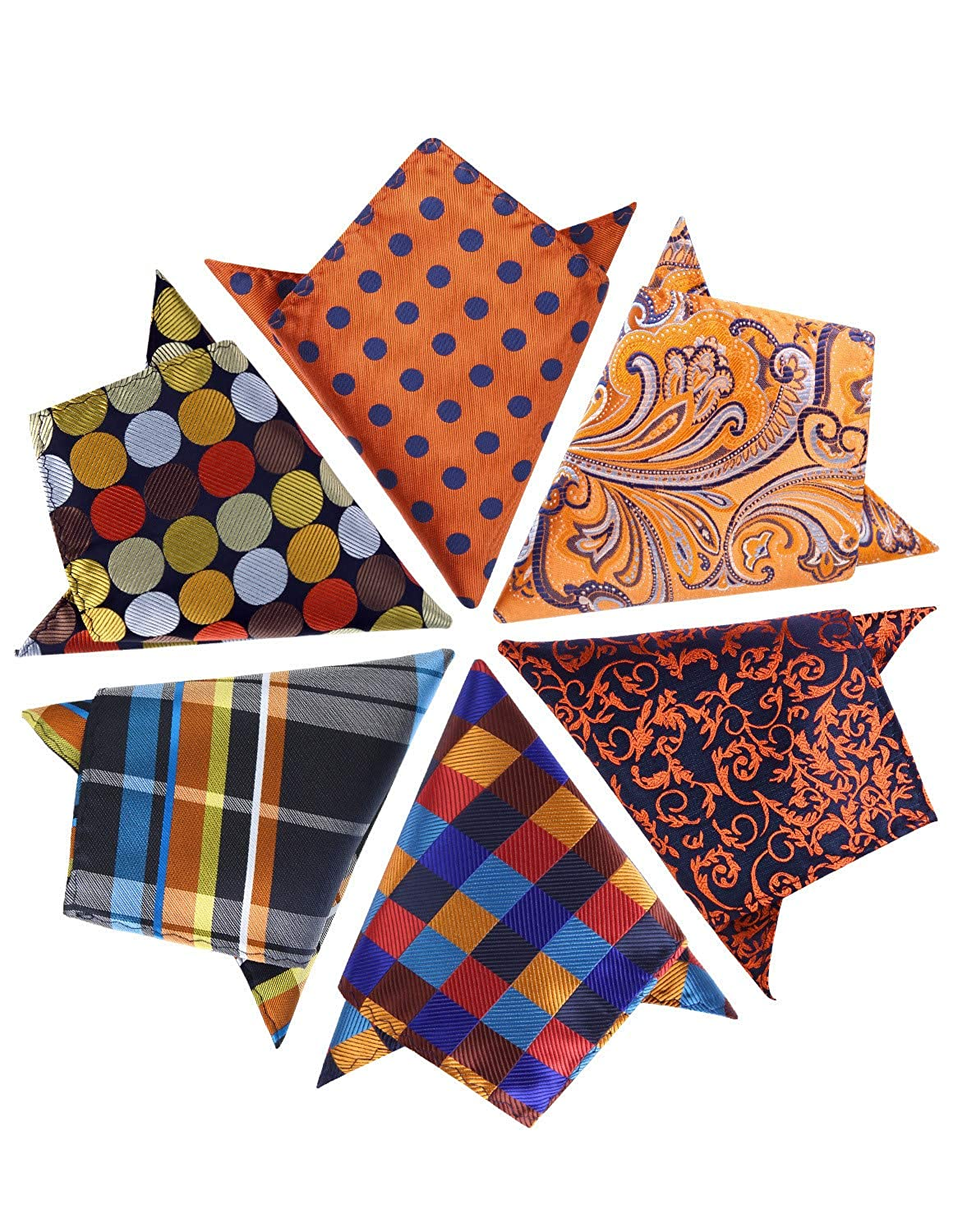 HISDERN 6 Piece Assorted Woven Mens Pocket Square Handkerchief Wedding Gift