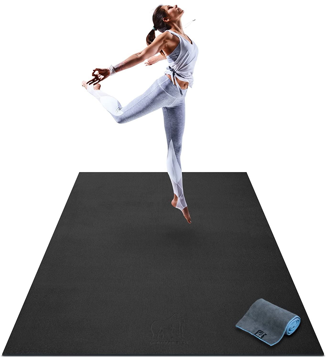 """Premium Large Yoga Mat - 6' x 4' x 8mm Extra Thick & Comfortable, Non-Toxic, Non-Slip, Barefoot Exercise Mat - Yoga, Stretching, Cardio Workout Mats for Home Gym Flooring (72"""" Long x 48"""" Wide)"""