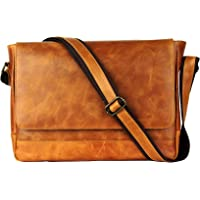 100% Vintage Leather Messenger Laptop Cross Body Briefcase Satchel Bag Tan 1809
