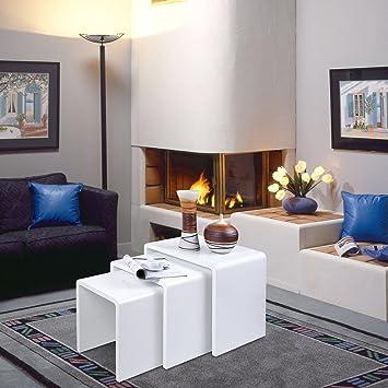 Modern Design White High Gloss Nest Of 3 Coffee Table Side Living Room