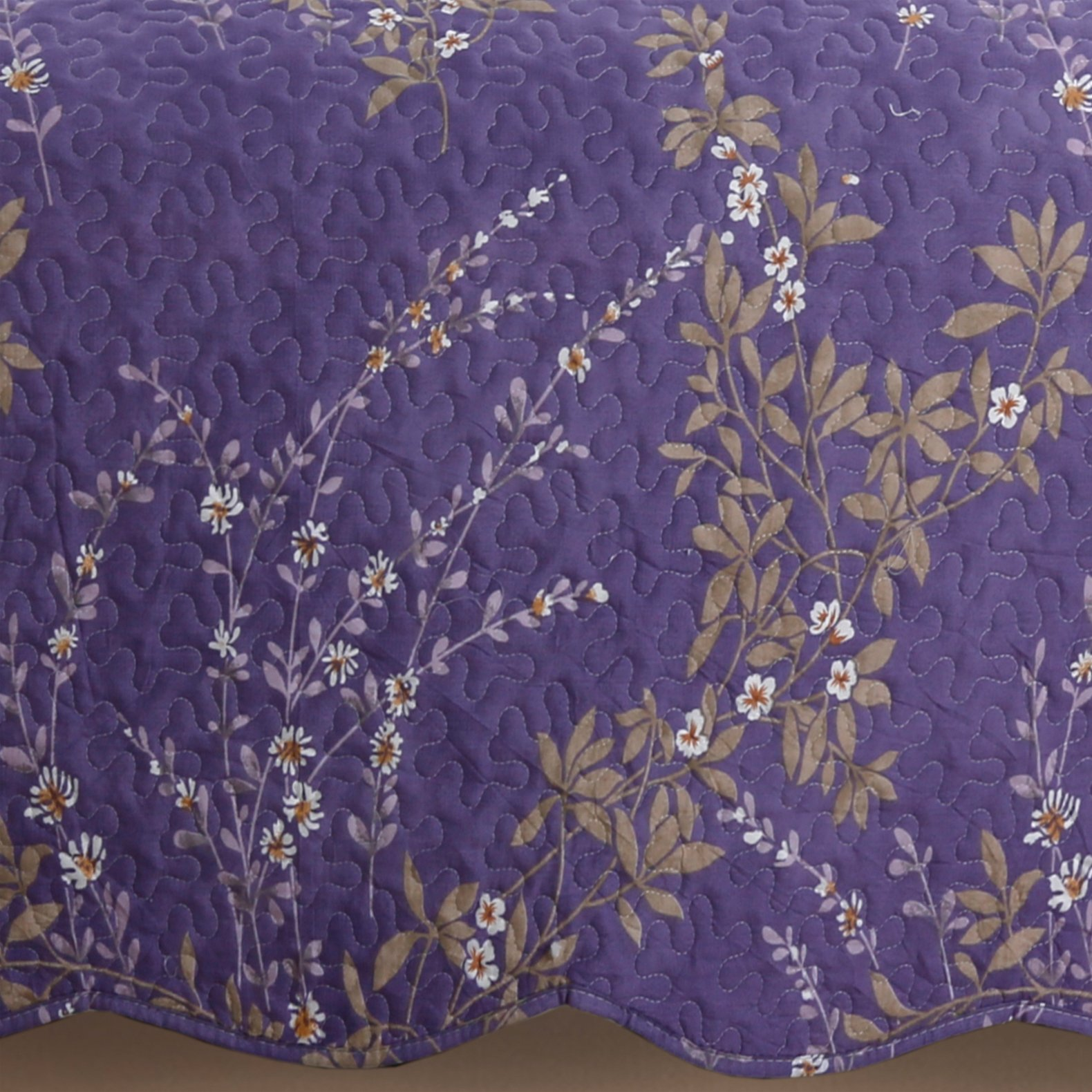 Kasentex Country-Chic Printed Pre-Washed Set. Microfiber Fabric Floral Design Quilt + 2 Shams, KING 104X90+20X36 X2, Purple by Kasentex (Image #5)