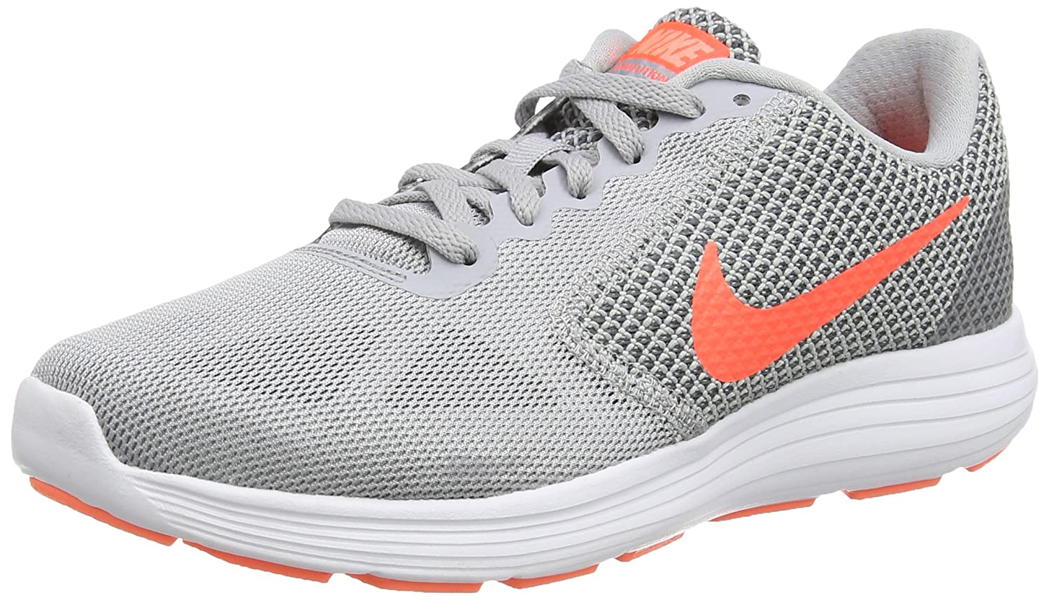 Nike Women s Revolution 3 Running Shoe Wlf Gry/Hypr Orng/Cl Gry/Atmc 6 B(M)  US: Amazon.in: Shoes & Handbags