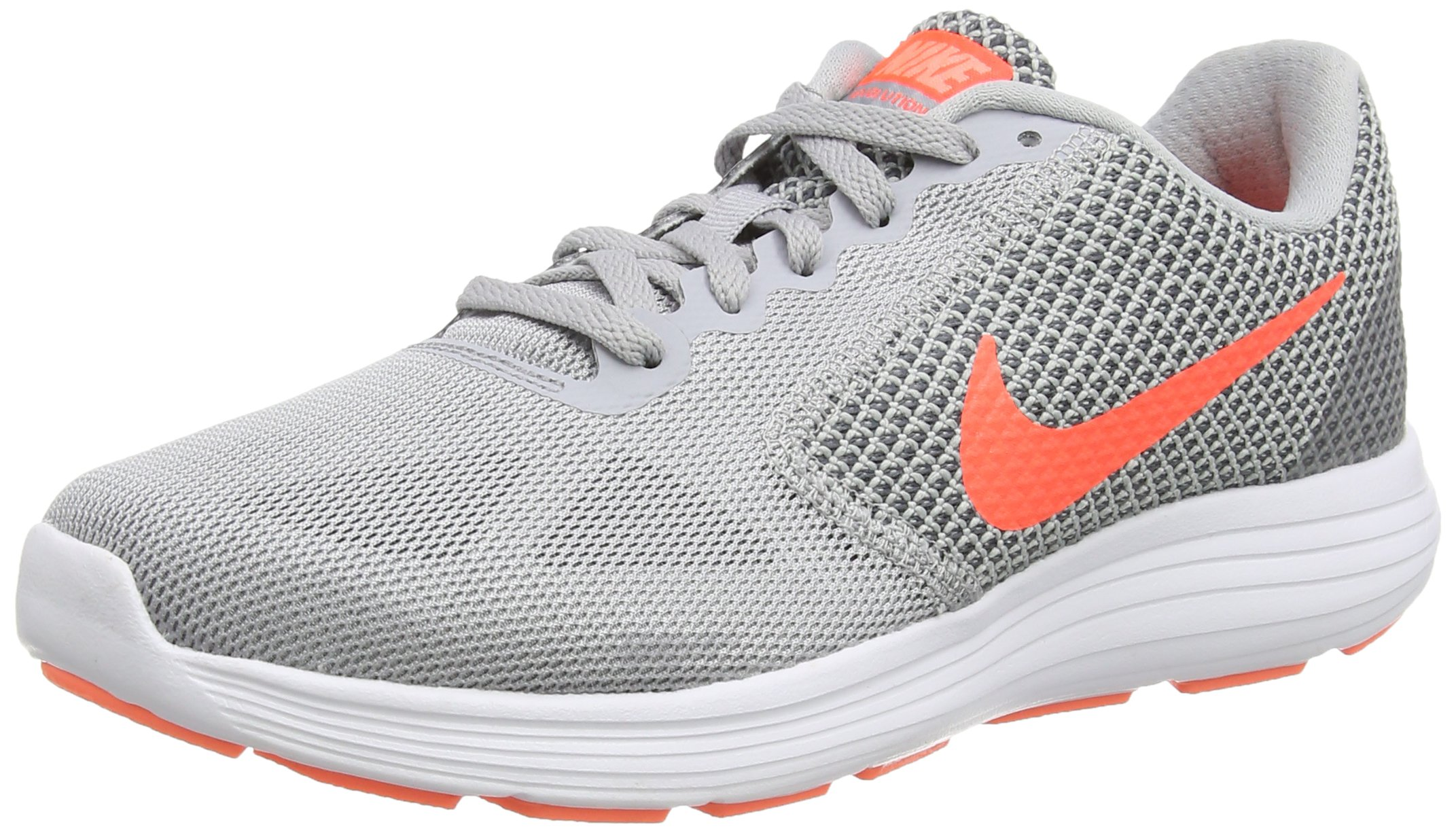NIKE WMNS Revolution 3 Women Round Toe Synthetic Running Shoe Wolf Grey/Cool Grey/Atomic Pink/Hyper Orange 5 B(M) US