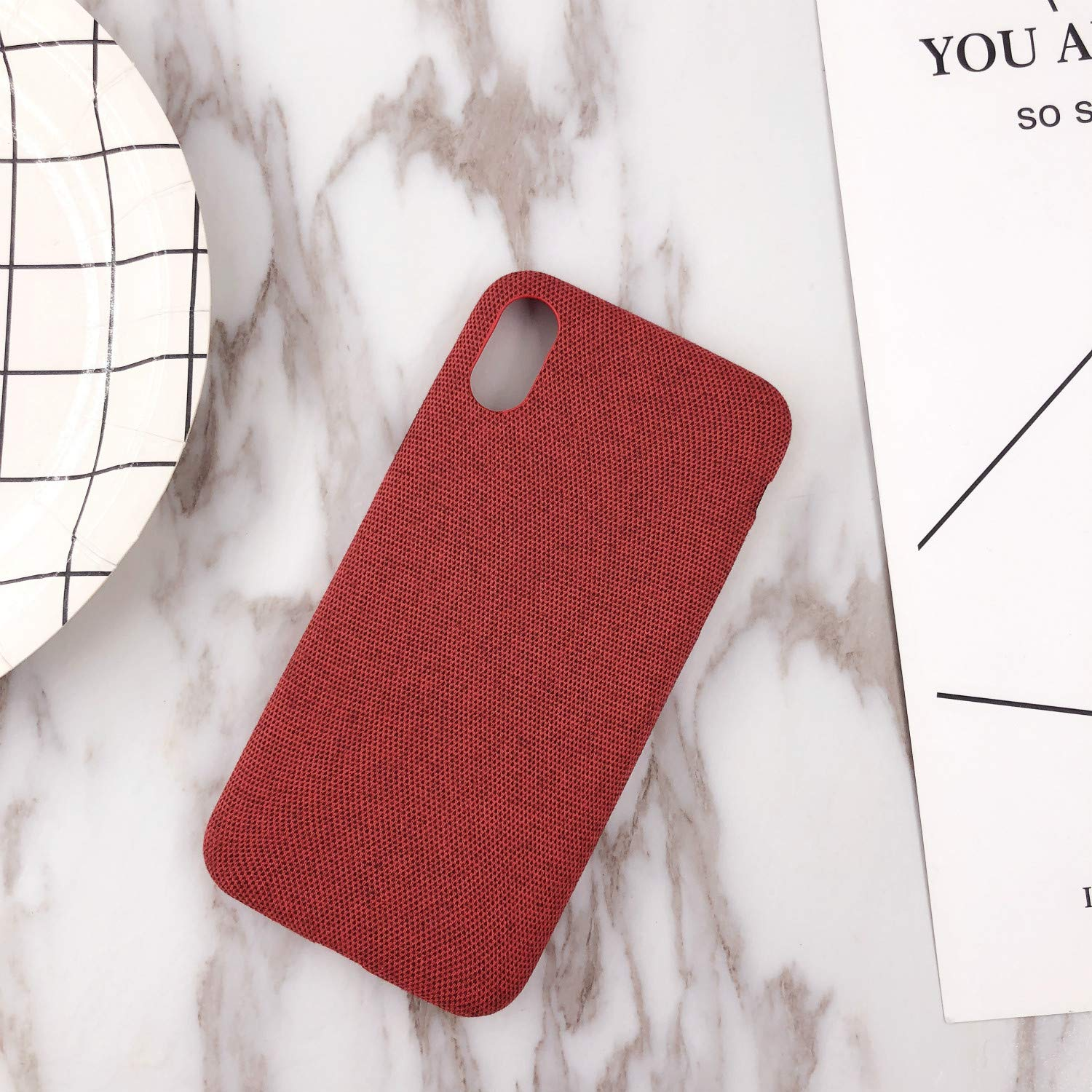 Phone Case,Ultra-Thin Felt Mobile Phone Shell Flannel Bottom Soft Shell for iPhone X Mobile Phone(Red)