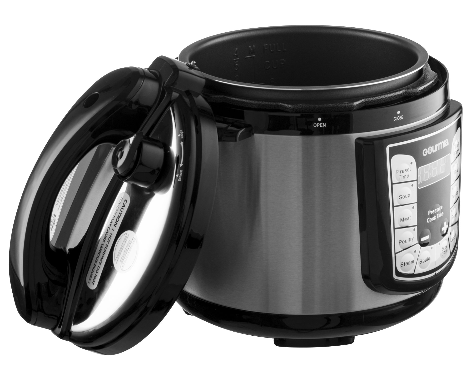 Gourmia GPC400 Smart Pot Electric Digital Multifunction Pressure Cooker with 13 Programmable Cooking Modes, 4 quart Stainless Steel with Steam Rack, 800W, Silver Free Recipe Book Included by Gourmia (Image #2)