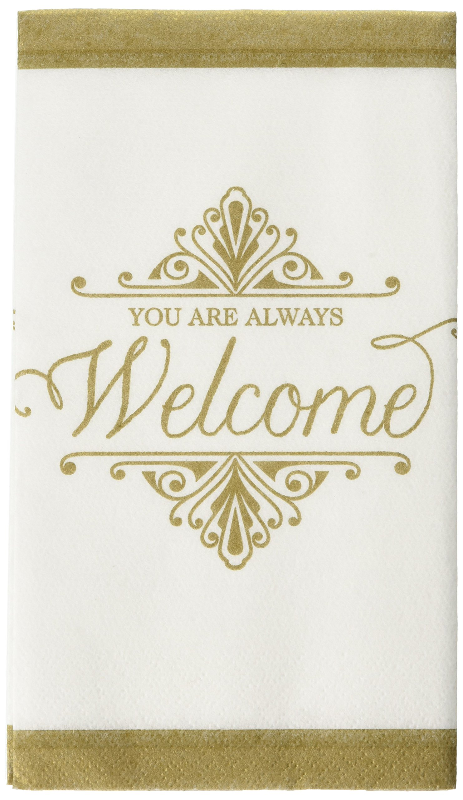 ''You Are Always Welcome'' Gold Premium Guest Paper Towels | 4'' x 7'' | 96 Ct.