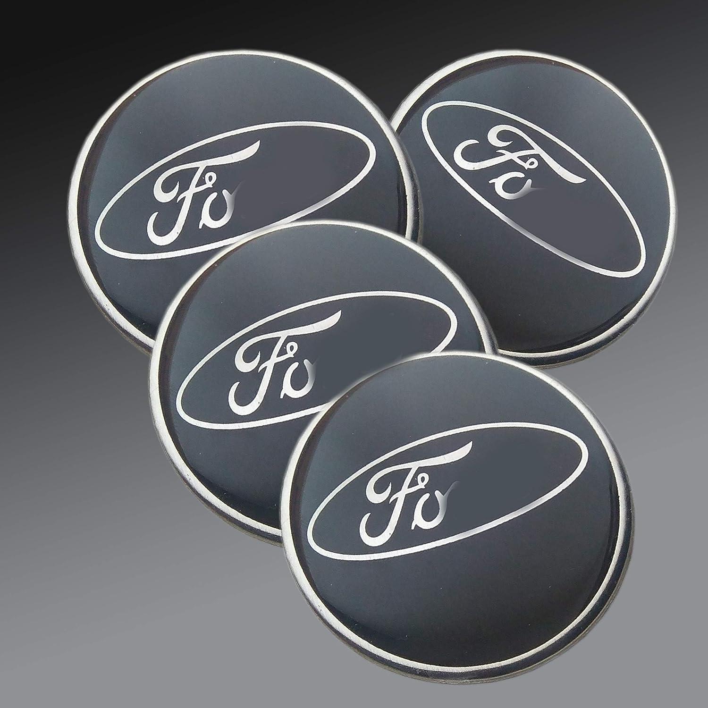 Aftermarket Replika Aufkleber Für Legierungs Radnaben Mit Ford Logo 60 Mm Epoxidharz Schwarz 4 Teiliges Set Auto