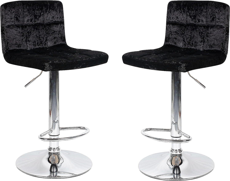 HISPUK 9 x Crushed Velvet Black Breakfast Bar Stool Kitchen Barstools  Dining Office Chair