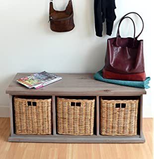 Acacia Bench With Wicker Baskets, Stunning Large Storage Bench, FULLY  ASSEMBLED