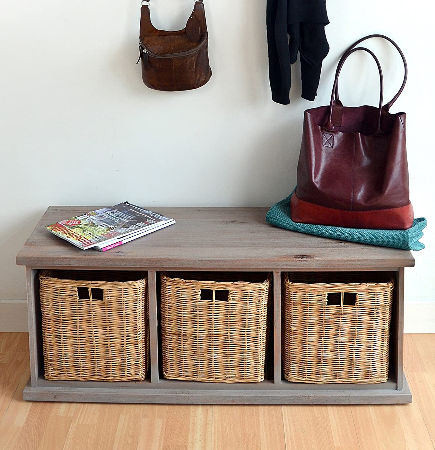 Acacia Bench With Wicker Baskets Stunning Large Storage Bench Fully Assembled