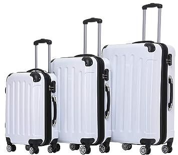 Beibye - Juego de 3 maletas de viaje rígidas con ruedas. Weiss Set: Amazon.es: Deportes y aire libre