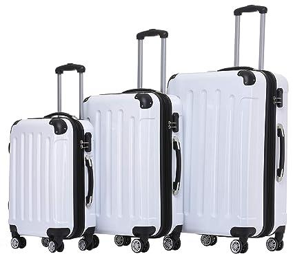 Beibye - maletas rígidas con ruedas, Blanco, Set(XL/L/M