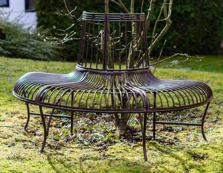 Gartenbank Bank Antik-Stil Garten Metall Eisen braun Möbel Baumbank 134cm