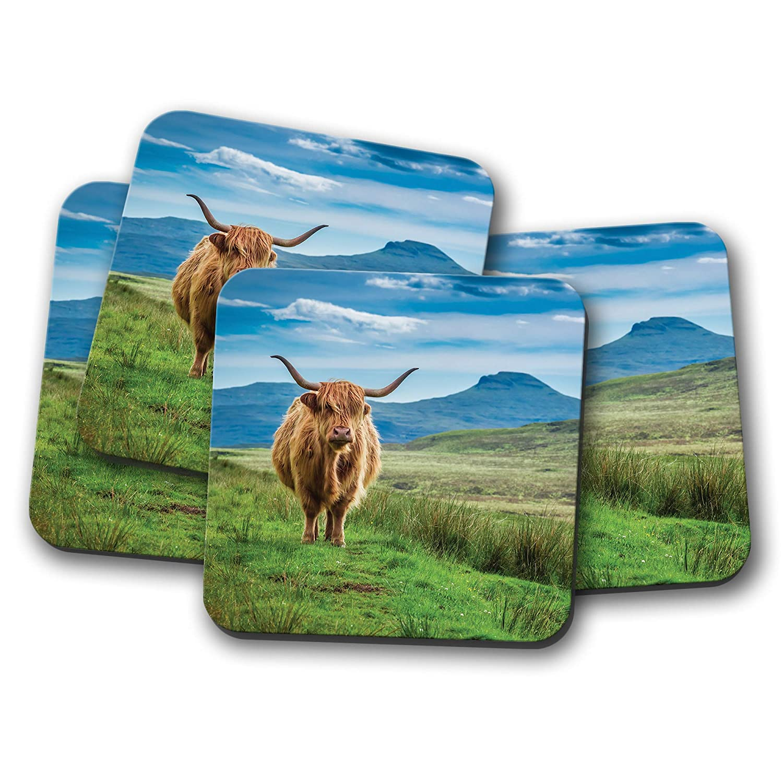 Cadeau #15513 Lot de 4 dessous-de-verre moelleux vache des Highland