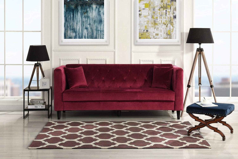 Amazon Com Sofamania Mid Century Velvet Sofa Living Room Couch