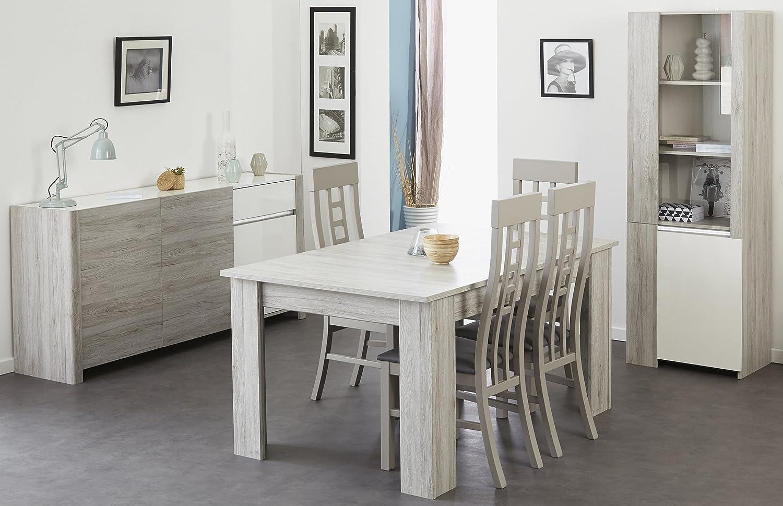 Esszimmer mit Tisch 155 x 101 cm Portofino grey/ weiss hochglanz mit Beleuchtung