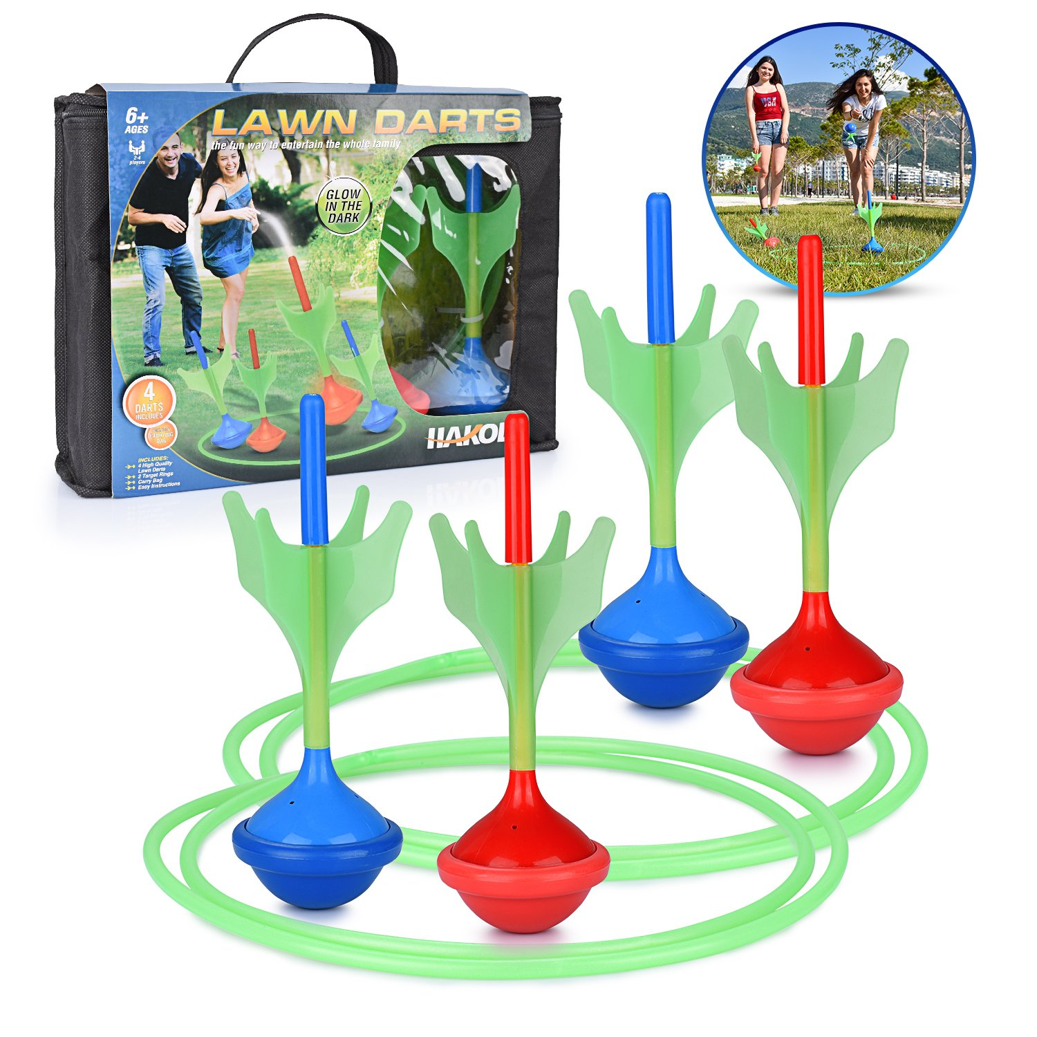 Lawn Darts Game - Glow in The Dark, Outdoor Backyard Toy for Kids & Adults | Fun for The Entire Family | Work On Your Aim & Accuracy While Having A Blast by HAKOL