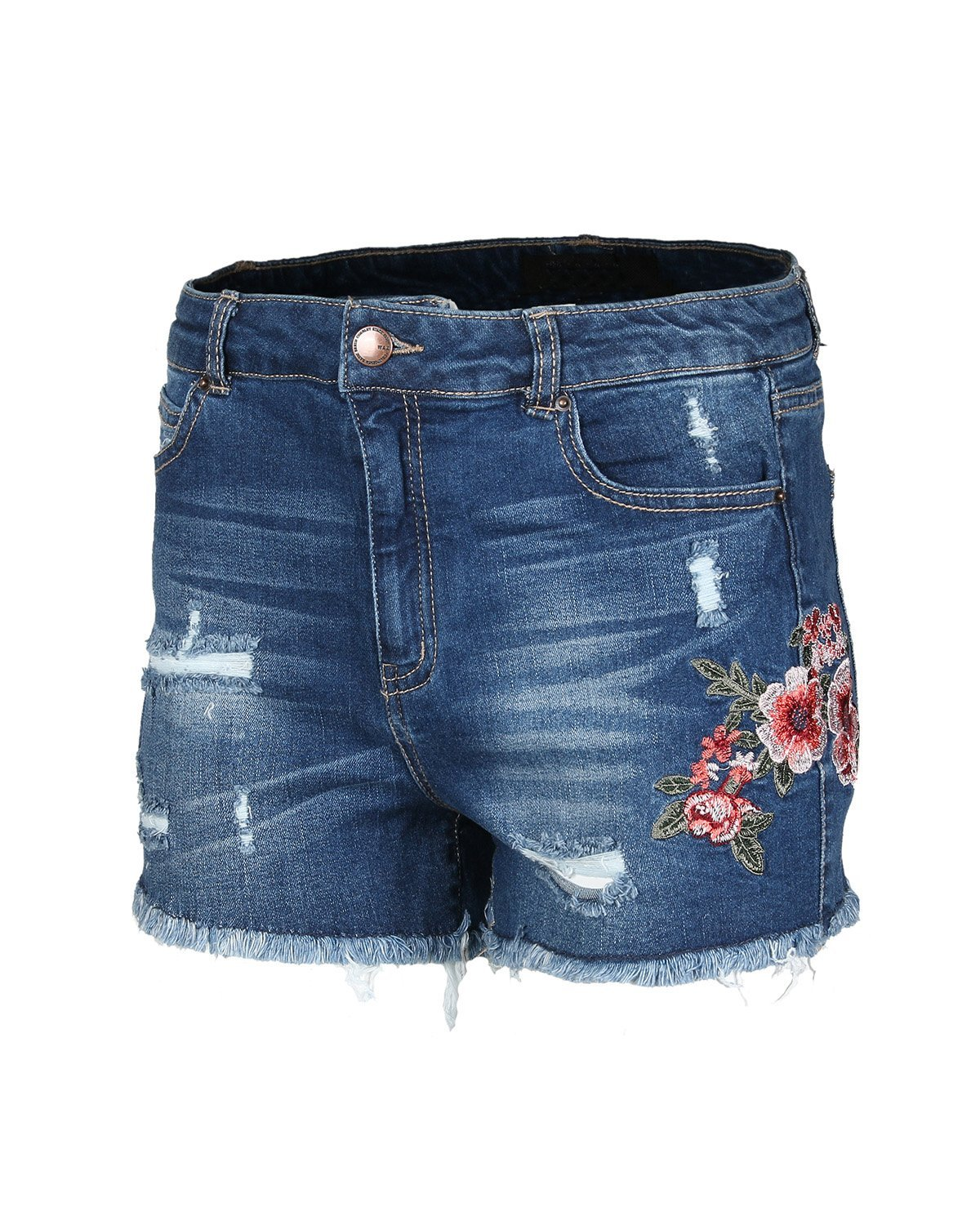 Dream Supply Women's Juniors Classic Mid Rise Distressed Floral Denim Shorts