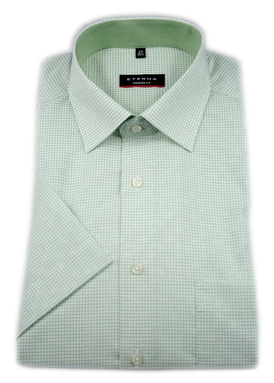TALLA 42. Eterna Camisa Formal - Cuadros - Clásico - Manga Corta - para Hombre