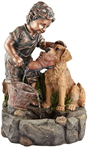 "John Timberland Northport 24 3/4"" H Boy Plays with Dog Outdoor Fountain"