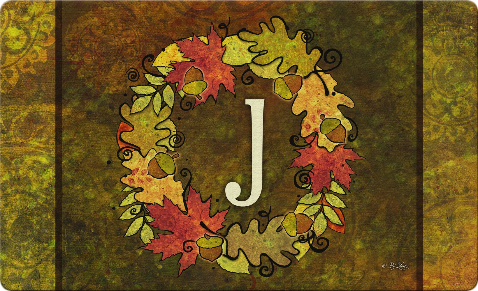 Toland Home Garden Fall Wreath Monogram J 18 x 30 Inch Decorative Autumn Floor Mat Colorful Leaves Doormat