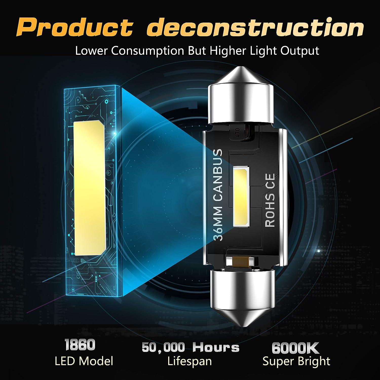 CCAUTOVIE Ampoule LED feston Canbus sans erreur C5W ampoule LED ampoule de f/ête pour voiture int/érieur d/ôme carte porte courtoisie plaque dimmatriculation lumi/ères 36mm 4 pi/èces