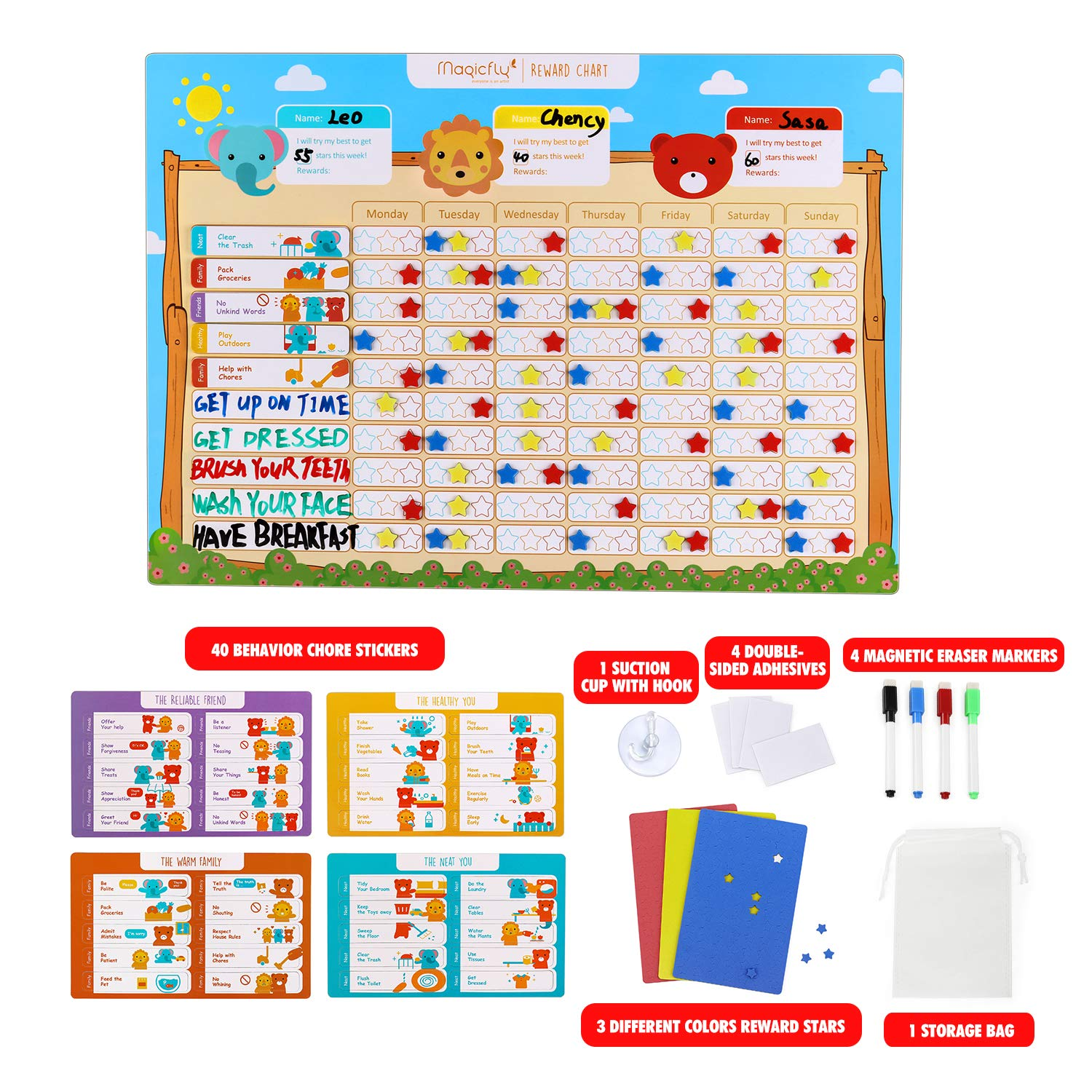 Training Responsibility Magnetic Star Chore Chart for Multiple Kids Magicfly Behavior Chart for Kids 17 X 12 Inch Dry Erase Reward Chart for Toddlers Kids Wall Sticker Magnets Family Calendar Board
