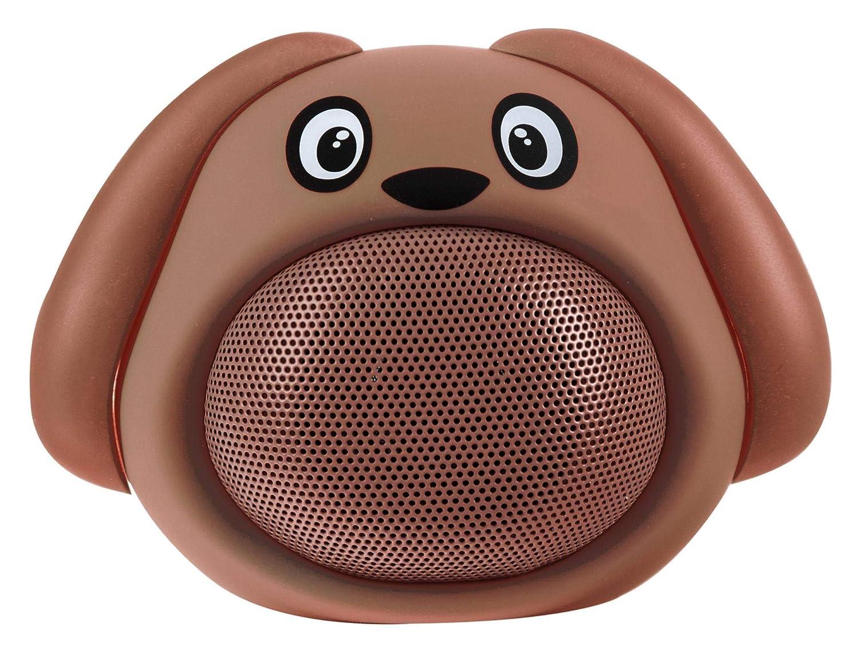 iCutes Tier Bluetooth Lautsprecher Dog (Mini Kinder Lautsprecher Box in tierischem Design & Freisprechfunktion) Braun .