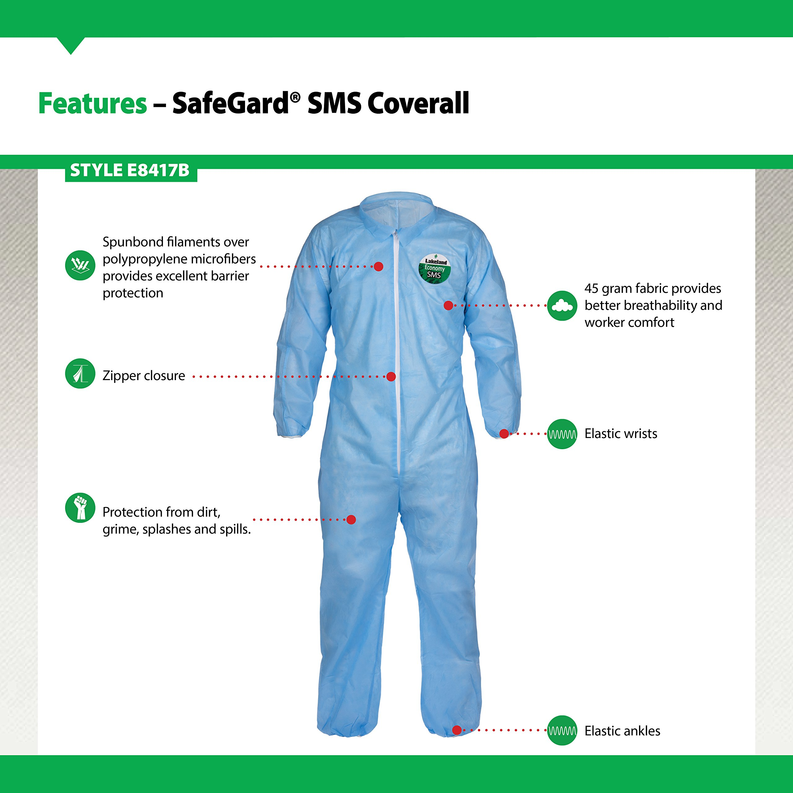 Lakeland SafeGard Economy SMS Coverall, Disposable, Elastic Cuff, X-Large, Blue (Case of 25) by Lakeland Industries Inc (Image #3)
