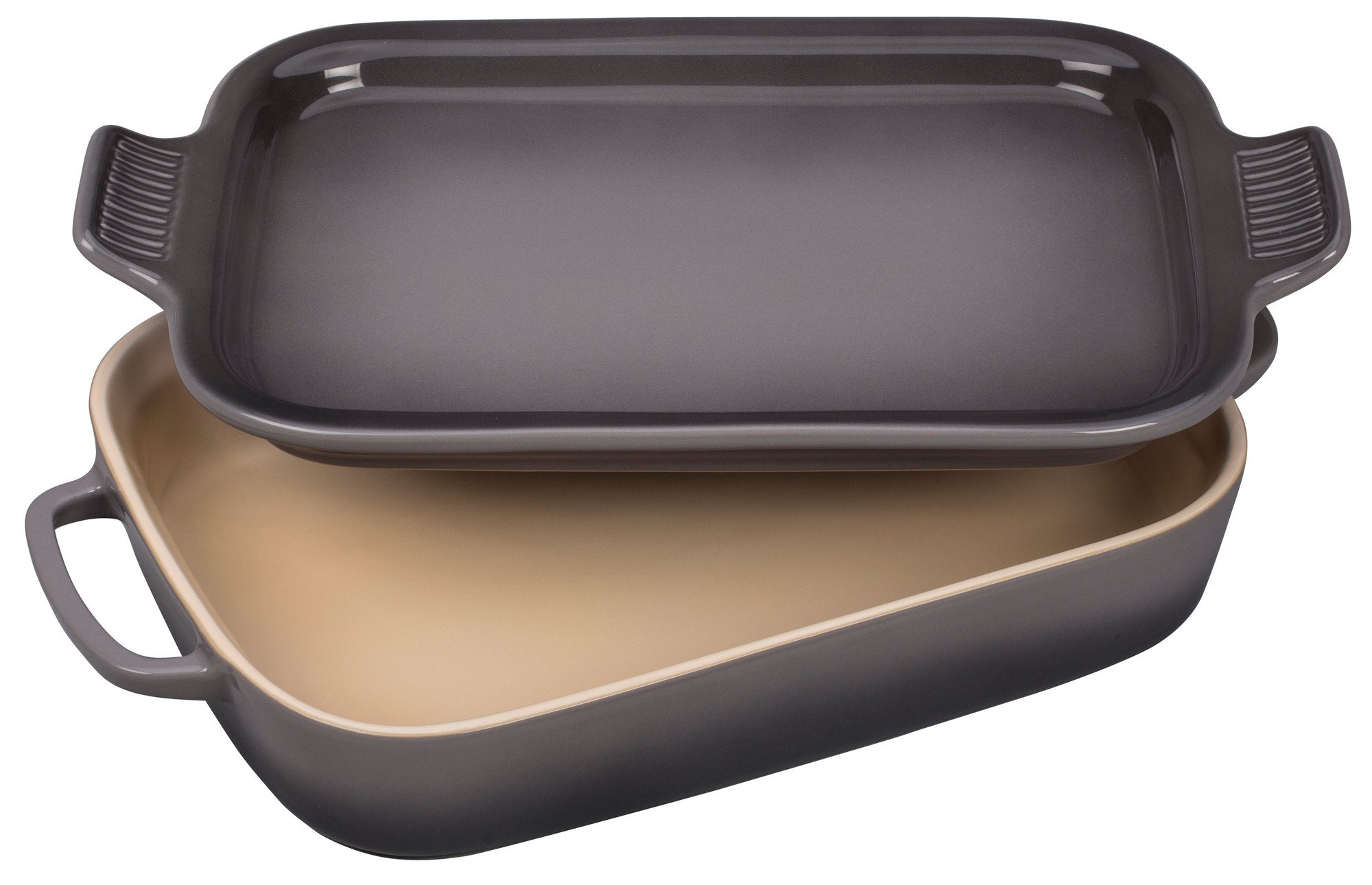 Le Creuset Stoneware Rectangular Dish with Platter Lid, 14 3/4x9x2 1/2 (2.75 qt.), Oyster