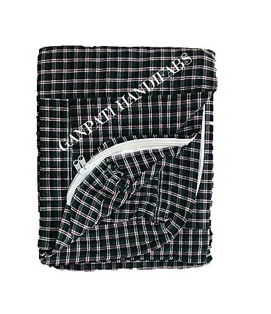GANPATI HANDIFABS Cotton Mattress cover 1 pcs with Zip and Kitchen Cloth Napkin, 72 x 48 x 4( Multicolour)
