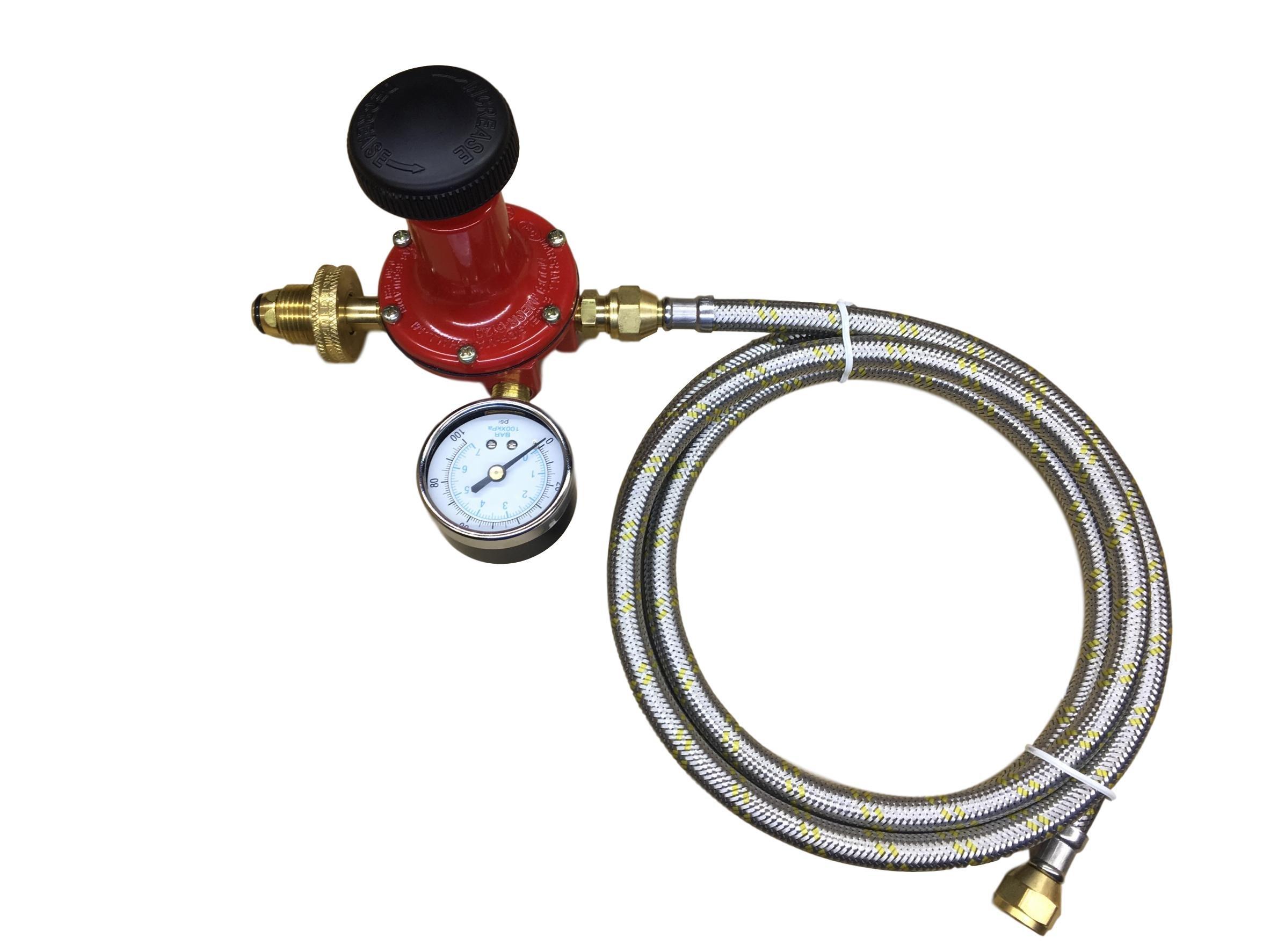 Propane LP Gas Adjustable 0-100psi High Pressure Regulator Soft Nose POL Brass Wheel Connector, Gauge and 12ft Stainless Steel Braided Hose
