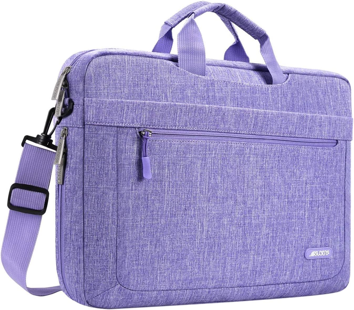 MOSISO Laptop Shoulder Bag Compatible with 13-13.3 inch MacBook Pro, MacBook Air, Notebook Computer, Polyester Messenger Carrying Briefcase Sleeve with Adjustable Depth at Bottom, Purple