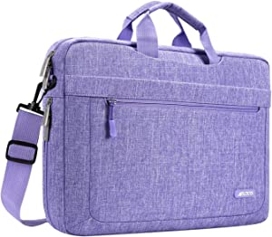 MOSISO Laptop Shoulder Bag Compatible with 17-17.3 inch MacBook/Dell/HP/Lenovo/Acer/Asus/Samsung/Sony, Polyester Messenger Carrying Briefcase Sleeve with Adjustable Depth at Bottom, Purple